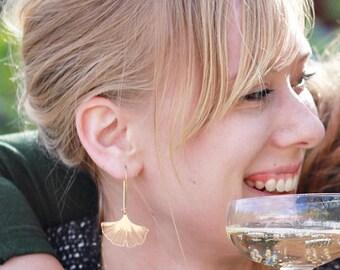 Gold Ginkgo Earrings,Long Boho earrings,Gifts for Her,Leaves Earrings,Raw Brass Leaf Earrings,Nature,Ginkgo Leaf Earrings,Woodland Jewelry