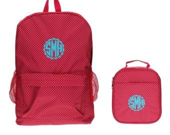 Girls Personalized Backpack Set, Hot Pink and Mini Polka Dot Pink Monogram Backpack with Matching Lunch Box Tote