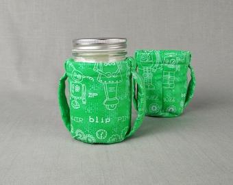 Pint Mason Jar Cozy for hot or cold liquids - Robot print