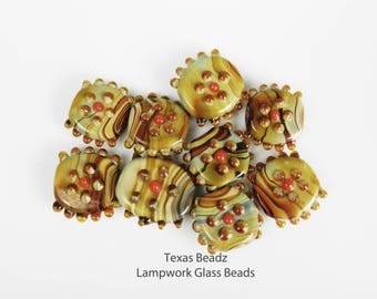 Fall Lampwork Glass Swirl Beads Mixed Colors Glass Beads Brown Tan Red Gray Multi Color Bead Mix