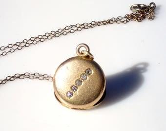 Victorian Gold Round Locket with Paste Stones - Initials AC