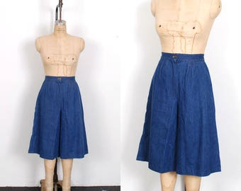 Vintage 1970s Culottes / 70s Wide Leg Cropped Denim Pants / Blue ( small S )