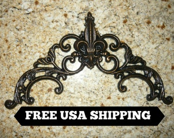 Iron Fleur de Lis Topper  Pediment   Valance   Wall Plaque   Wrought Iron Decor   Old World   French Country   Medieval   Tuscan Home Decor