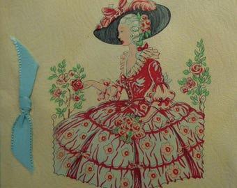 Vintage 30s Birthday Card Crinoline Lady Art Deco Greetings Card 1930s UNUSED