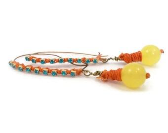 Colorful Earrings, Bohemian Earrings, Blue Orange Yellow, Festival Accessories, Dangle Earrings, Artisan Jewelry, Unique Earrings, Boho