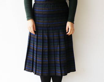 Vintage Sriped Skirt / Pleated Wool Skirt / SIze  L