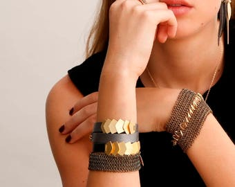 Womens Leather Bracelet, Leather and Metal bracelet, Leather Wrap Bracelets for Women, double wrap bracelet, Leather and Gold Bracelet