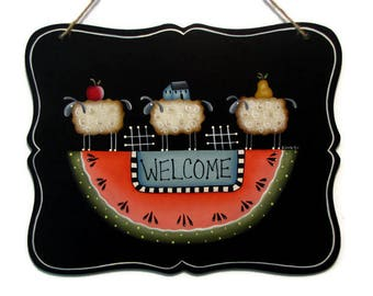 Prim Sheep on Watermelon Welcome Sign,  Handpainted Wood Primitive Home Decor, Hand Painted Wall Art, Tole Decorative Painting