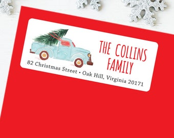 Christmas Address Labels - Watercolor Vintage Truck - Sheet of 30