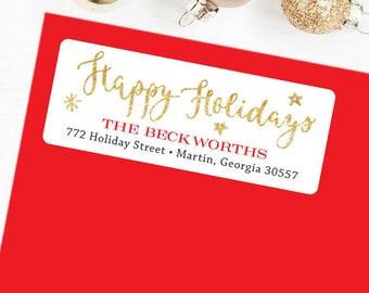 Happy Holidays Address Labels - Christmas Address Labels - Sheet of 30