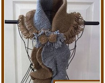 Knitting Pattern: Ladies Shawl Collar Scarf Fringe Trimmed with Corkscrew Ends