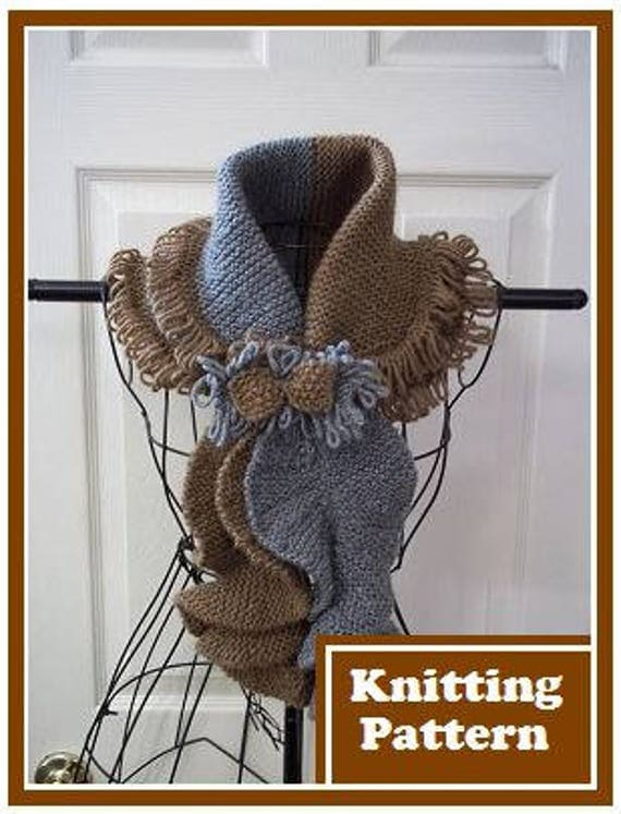 Knitting Pattern Ladies Shawl Collar Scarf Fringe Trimmed With