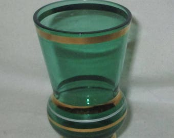 Tooth pick holder vintage green glass with gold bands