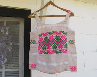 "Vintage Handmade Guatemalan Embroidered Tank Top Blouse ~ Bohemian,  Hippie, Festival Wear ~ Bust 17"" x Hem 19"" x Length 21"" x Arm Holes 8"""