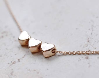 Tiny Floating Hearts Necklace, Rose Gold Necklace, Metal Pendant Modern Jewelry, Mother Necklace, Memorial Jewelry