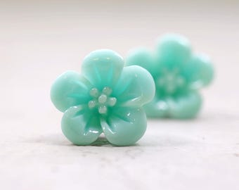 Mint Hibiscus Earrings, Hawaiian Hibiscus Flowers, Retro Jewelry, Pale Blue Green Cottage Chic Vintage Style Jewelry Pastel Floral Studs