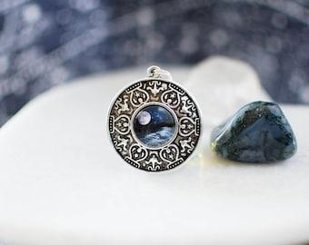 Ocean Moon Necklace. Silver Moon Necklace. Moon Pendant. Moon Jewelry. Night Ocean Necklace. Sea Necklace. Boho Necklace.