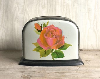 Vintage Toy Toaster Tin Pink Rose Decoration Mid Century Toy Make Believe Kitchen Cooking Child