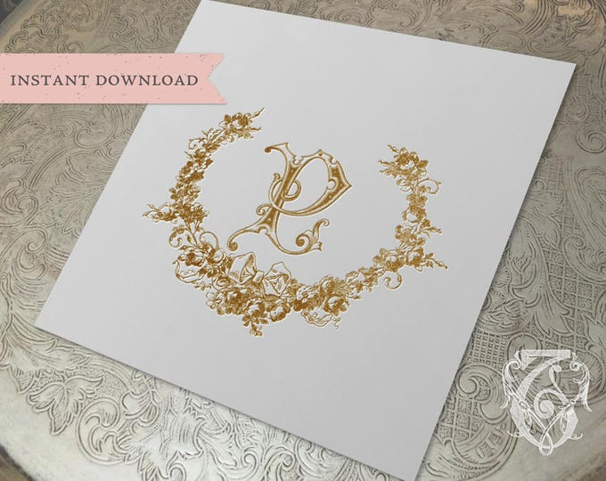Wedding Crest Vintage Initial P Roses Wreath Crest Digital Download