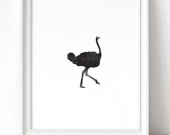 Ostrich Ink Texture Print, Black and White PRINTABLE Nursery Art, Instant Download Print, Black & White, Minimal Art Print, Modern Art