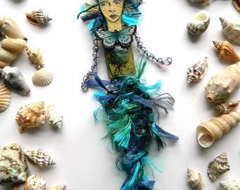 Mermaid Doll, Art Doll, Mixed Media Mermaid, Mermaid Decoration, Beach House Decor, Handmade Mermaid, Birthday Gift, Mermaid Gift, Whimsical