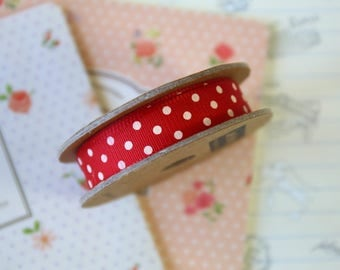 Red & White Polka Dots grosgrain ribbon