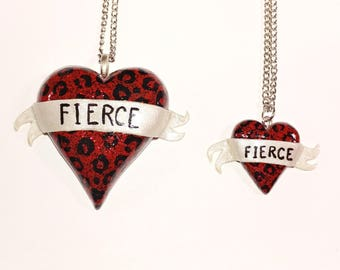 Mommy and Me Fierce Heart Necklace Set