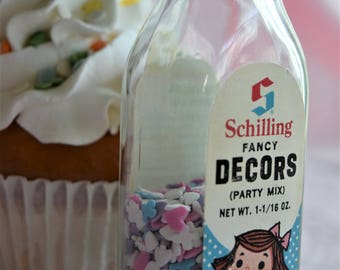 SCHILLING McCormick FANCY DECORS Cake Cookie Cupcake Sprinkles Bottle Jar Baking Cooking Kitchen Spice Party Mix Decoration Pink Aqua Blue