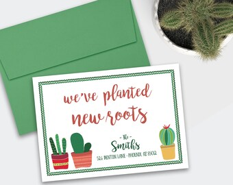 Moving / New Address Announcement - New Roots / Plants / Succulents / Cacti / Cactus - DEPOSIT