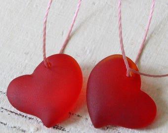 Sea Glass Beads - Sea Glass Pendant - Beach Glass Beads - Jewelry Making Supply - 18mm Red Heart Bead - Choose Amount