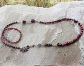RESERVED for Ralph - Handmade Garnets, Sapphires and Pearls Long Necklace, OOAK Wearable Art, Handcrafted Artisan Sterling Silver Necklace