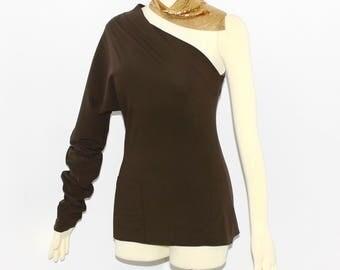 Jean Paul GAULTIER Femme Vintage Brown One Shoulder Dolman Top - AUTHENTIC -