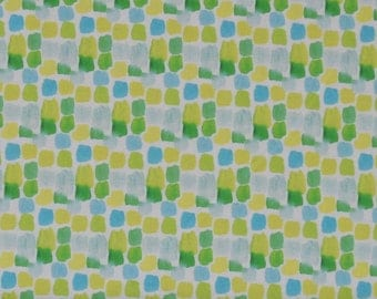 Yellow, Green & Aqua Geometric Print on White 100% Cotton Quilt Blender Fabric, 3 Wishes' Happy Meadow Collection 3WI12312-White