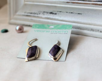 Sterling silver Earrings with Sugilites Gemstones - Pair of asymmetrical earrings 925