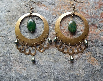 Big brass statement earrings - chandelier earrings - forest green picasso glass and crystal dangles - gypsy earrings - bohemian jewelry