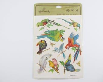 Vintage Hallmark Parrot Stickers