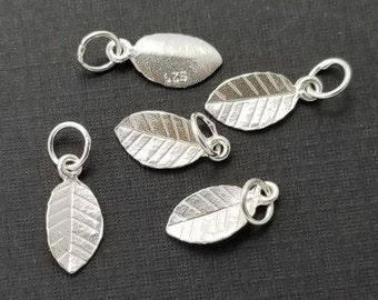 925 Sterling Silver Tiny Leaf Pendant Charm with Bail, 6 pcs, Handmade Findings