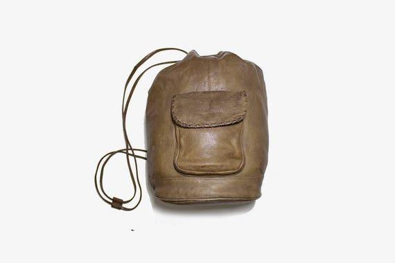 Vintage Leather Backpack / Leather Bucket Bag / Bucket Backpack / Sling Backpack / Brown Backpack / Large Backpack / Leather Rucksack