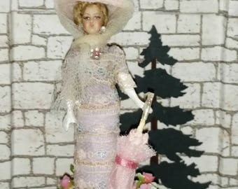 OOAK Edwardian Style Doll, Two and aHalf Inches Tall, Dollhouse, Stand Included NL