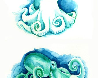 Octopus Art Print Coastal Wall Decor, Bathroom Wall Art, Bathroom Picture Home Decor Octopus Watercolor Print Green Octopi Sealife Ocean Art