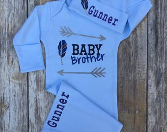 Baby Brother Outfit Set, Boho Newborn Baby Boy Outfit,  Personalized Baby Boy Outfit, Coming Home Outfit, Personalized Gown and Hat Set