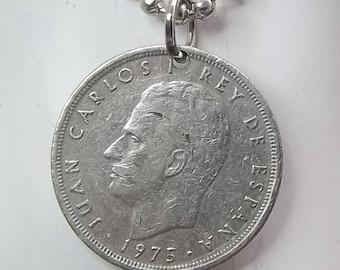 Spanish Coin Necklace, 5 Pesetas, Coin Pendant, Ball Chain, Men's Necklace, Women's Necklace, 1975