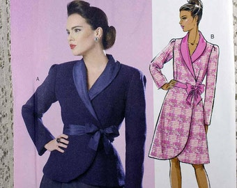 Butterick 6105, Misses' Jacket and Coat Sewing Pattern, Misses' Size 14-22, Easy Wrap Coat Pattern, Easy Wrap Jacket Pattern, Uncut Pattern