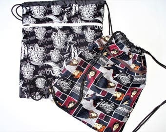 Fabric Covered,Nylon Lined,Drawstring Backpack Harry Potter,Herminia, Ron,Best Friends,Dragons Flying Back To School