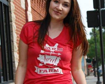 Farm Sweet Farm T-shirt Ladies' Triblend V-Neck T-Shirt - Homesteader, farm girl, weathervane country girl women's v-neck