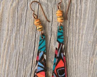 BREAKDANCE / Wood Earrings / Women's Jewelry / Gifts For Her / Sustainable / Earrings / Acrylic Painting / Art / Art Jewelry
