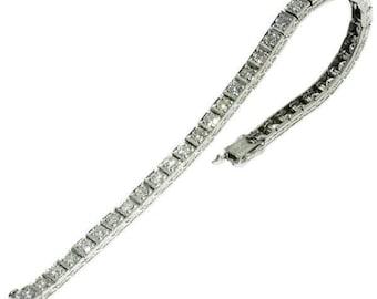 Diamond tennis bracelet platinum brilliant cut diamonds 4.30ct vintage wedding bracelet Mid-century jewelry