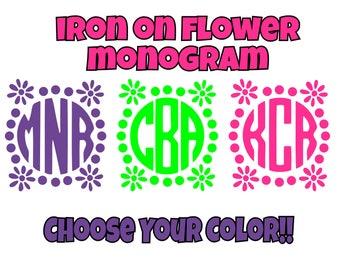 Iron On Custom Flower Monogram, Flower Monogram, Iron On Transfer, Custom Monogram, DIY Monogram, Monogram Do It Yourself