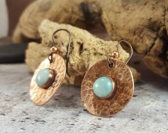 Hammered Copper Earrings, Blue Larimar Crystal Earrings, Gift for Girlfriend, Birthday gifts for her, Mom Gift, Copper Dangle Stone Earrings