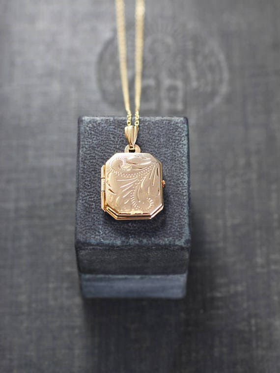 Tiny Book 9ct Gold Locket Necklace, Unique Hallmarked Rectangle Picture Pendant - Story of My Heart